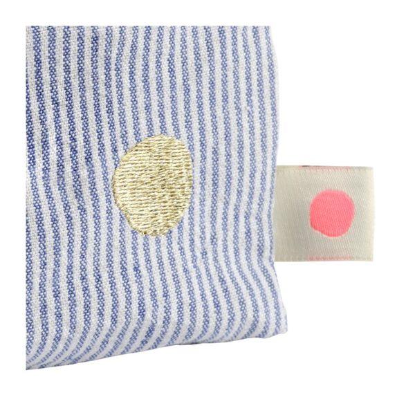 Toilettas blauw gestreept kubus-detail La cerise sur le gateau- FeelingGoods