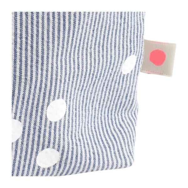 Toilettas blauw gestreept met stippen - detail-La cerise sur le gateau- FeelingGoods