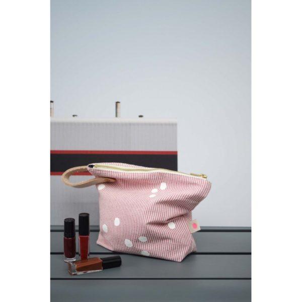 Toilettas rood gestreept met stippen -La cerise sur le gateau- FeelingGoods
