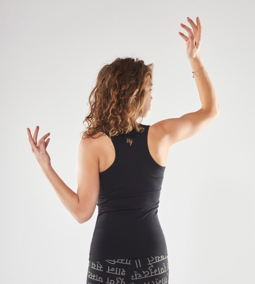 Yoga Tank Top- Racerback Mandala-Urban Black -FeelingGoods