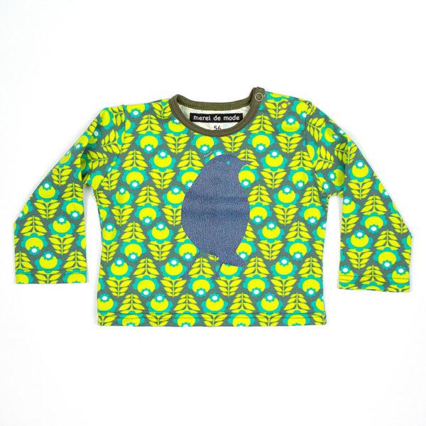 Baby t-shirt groen met blauwe merel