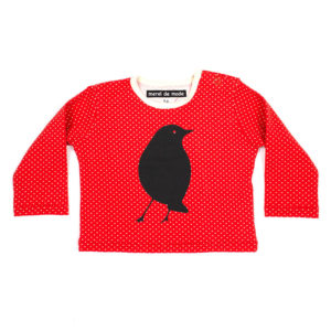 Baby t-shirt rood met zwarte merel