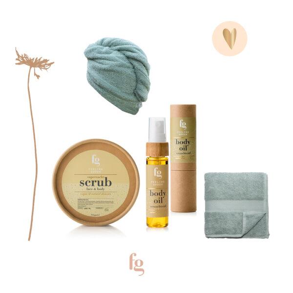 Cadeaupakket, face & bodyscrub, body oil, haarhanddoek, gezichtsdoekje - Feeling Goods