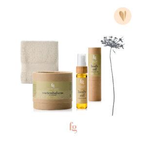 Cadeaupakket voetenbalsem, body oil en gezichtsdoekje-Feeling Goods
